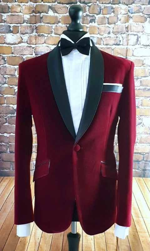 """Heath"" Deep Cherry Plush Velvet Dinner Jacket"